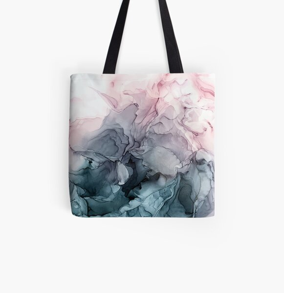 Blush and Payne's Grey Flowing Abstract Painting All Over Print Tote Bag