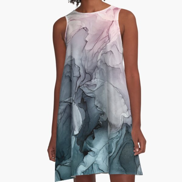 Blush and Payne's Grey Flowing Abstract Painting A-Line Dress