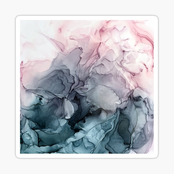 Blush and Payne's Grey Flowing Abstract Painting Sticker
