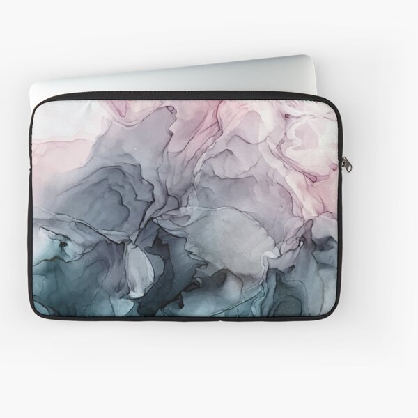 Blush and Payne's Grey Flowing Abstract Painting Laptop Sleeve