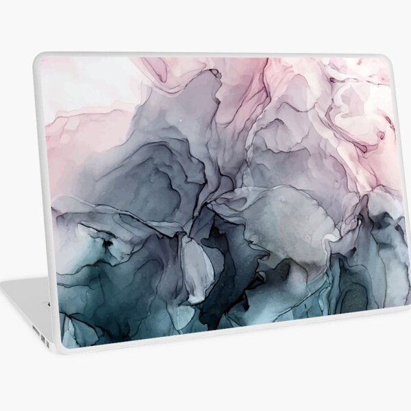 Blush and Payne's Grey Flowing Abstract Painting Laptop Skin