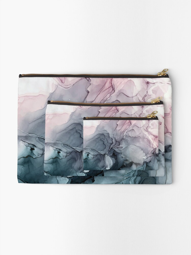 Alternate view of Blush and Payne's Grey Flowing Abstract Painting Zipper Pouch