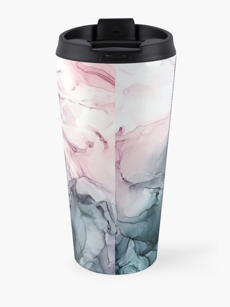 Alternate view of Blush and Payne's Grey Flowing Abstract Painting Travel Mug