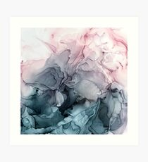 Blush and Payne's Grey Flowing Abstract Painting Art Print