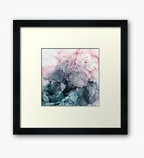 Blush and Payne's Grey Flowing Abstract Painting Framed Print