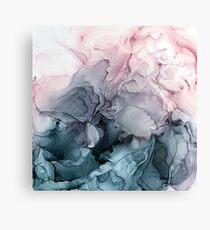 Blush und Paynes graue fließende abstrakte Malerei Leinwanddruck