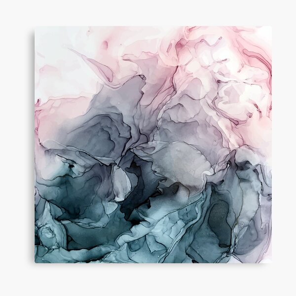 Blush and Payne's Grey Flowing Abstract Painting Canvas Print