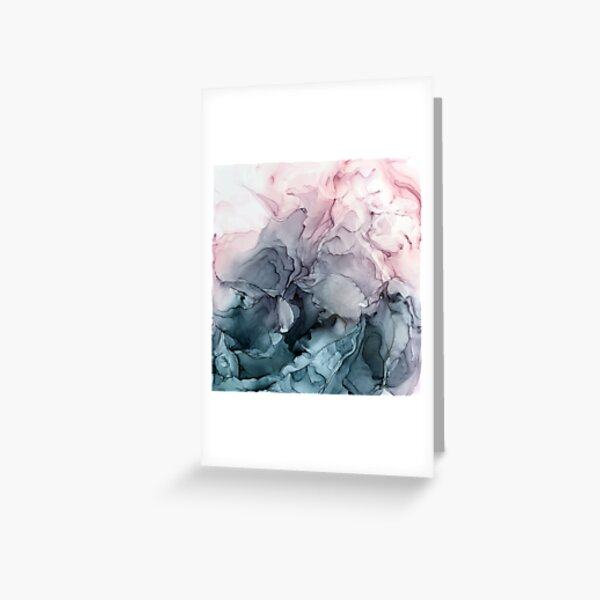 Blush and Payne's Grey Flowing Abstract Painting Greeting Card