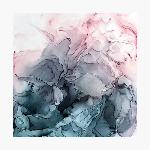 Blush and Payne's Grey Flowing Abstract Painting Photographic Print