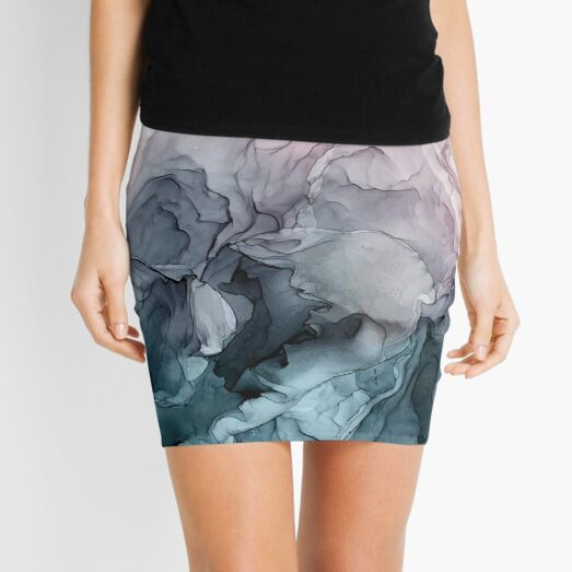 Blush and Payne's Grey Flowing Abstract Painting Mini Skirt