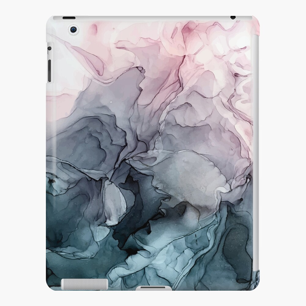 Blush and Payne's Grey Flowing Abstract Painting iPad Case & Skin