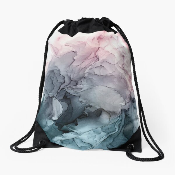 Blush and Payne's Grey Flowing Abstract Painting Drawstring Bag