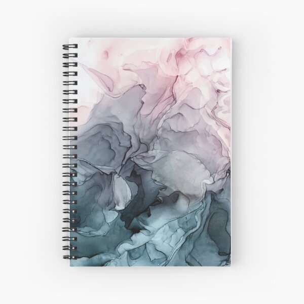 Blush and Payne's Grey Flowing Abstract Painting Spiral Notebook