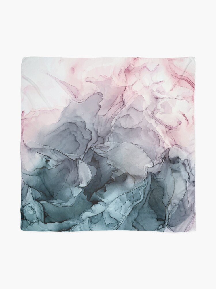 Alternate view of Blush and Payne's Grey Flowing Abstract Painting Scarf