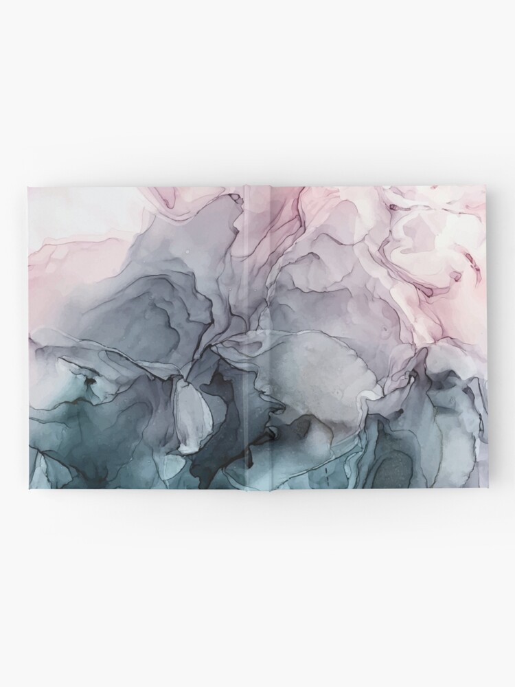 Alternate view of Blush and Payne's Grey Flowing Abstract Painting Hardcover Journal