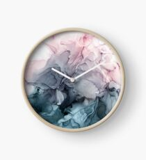 Blush and Payne's Grey Flowing Abstract Painting Clock