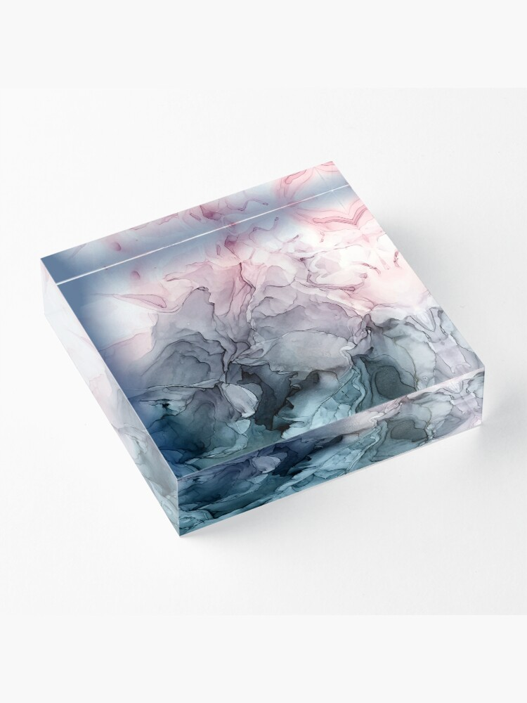 Alternate view of Blush and Payne's Grey Flowing Abstract Painting Acrylic Block