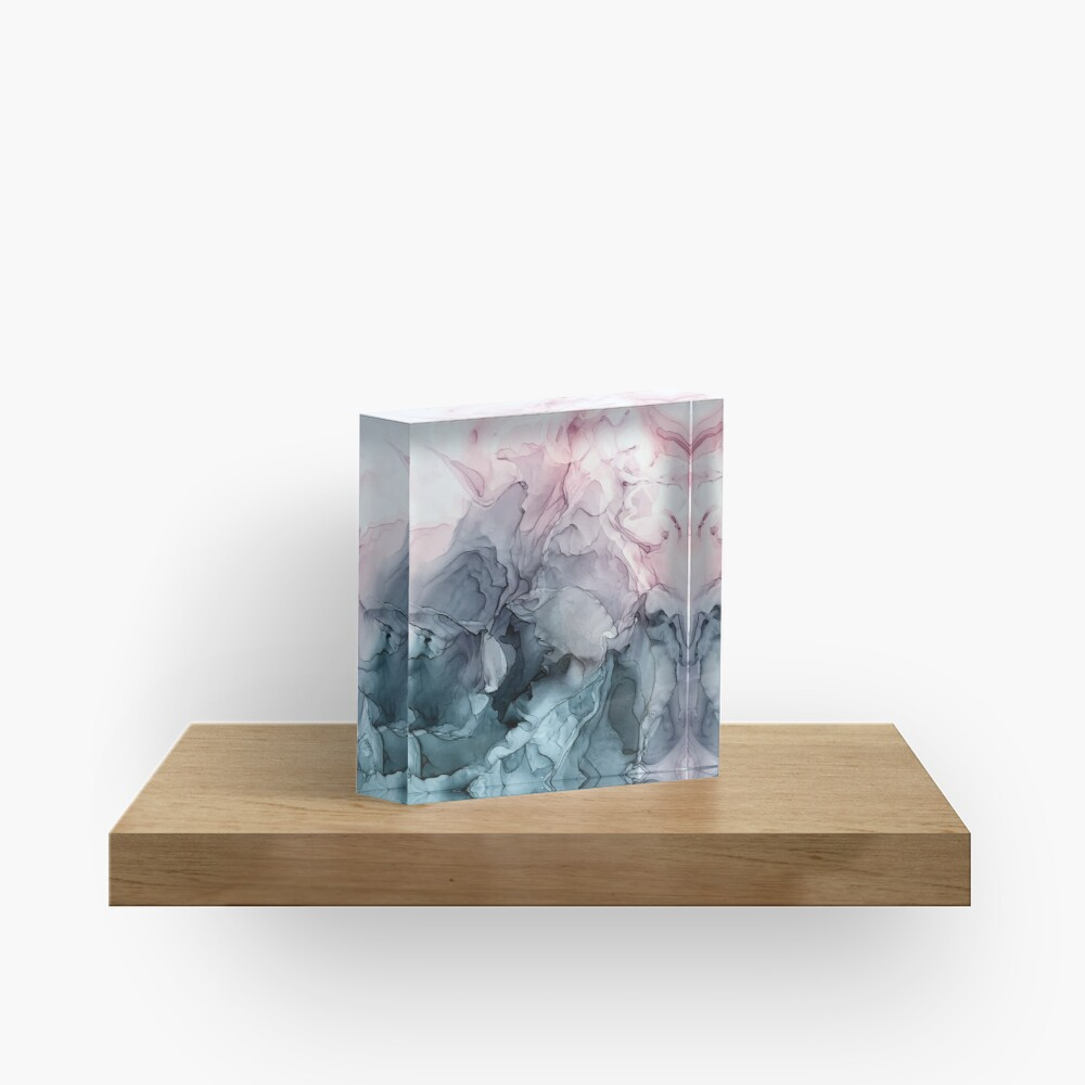 Blush and Payne's Grey Flowing Abstract Painting Acrylic Block