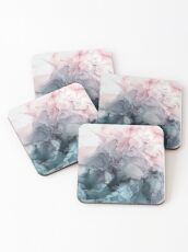 Blush and Payne's Grey Flowing Abstract Painting Coasters