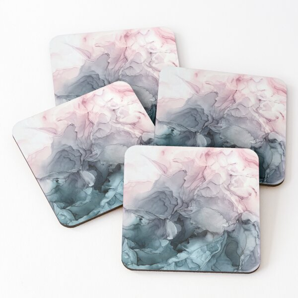 Blush and Payne's Grey Flowing Abstract Painting Coasters (Set of 4)