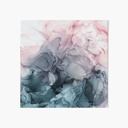 Blush and Payne's Grey Flowing Abstract Painting Art Board Print