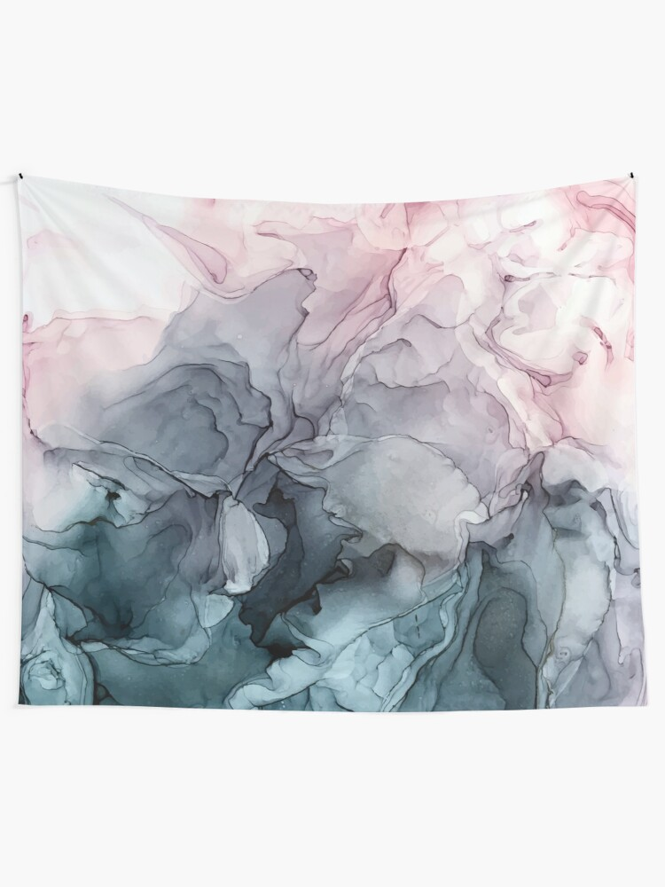 Alternate view of Blush and Payne's Grey Flowing Abstract Painting Tapestry