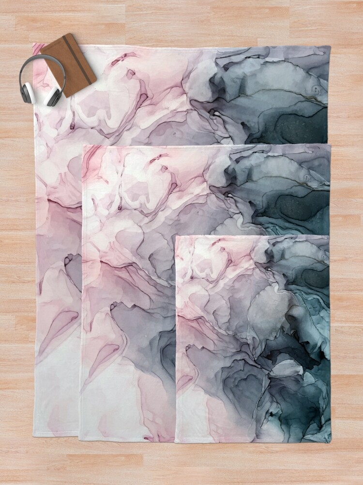 Alternate view of Blush and Payne's Grey Flowing Abstract Painting Throw Blanket