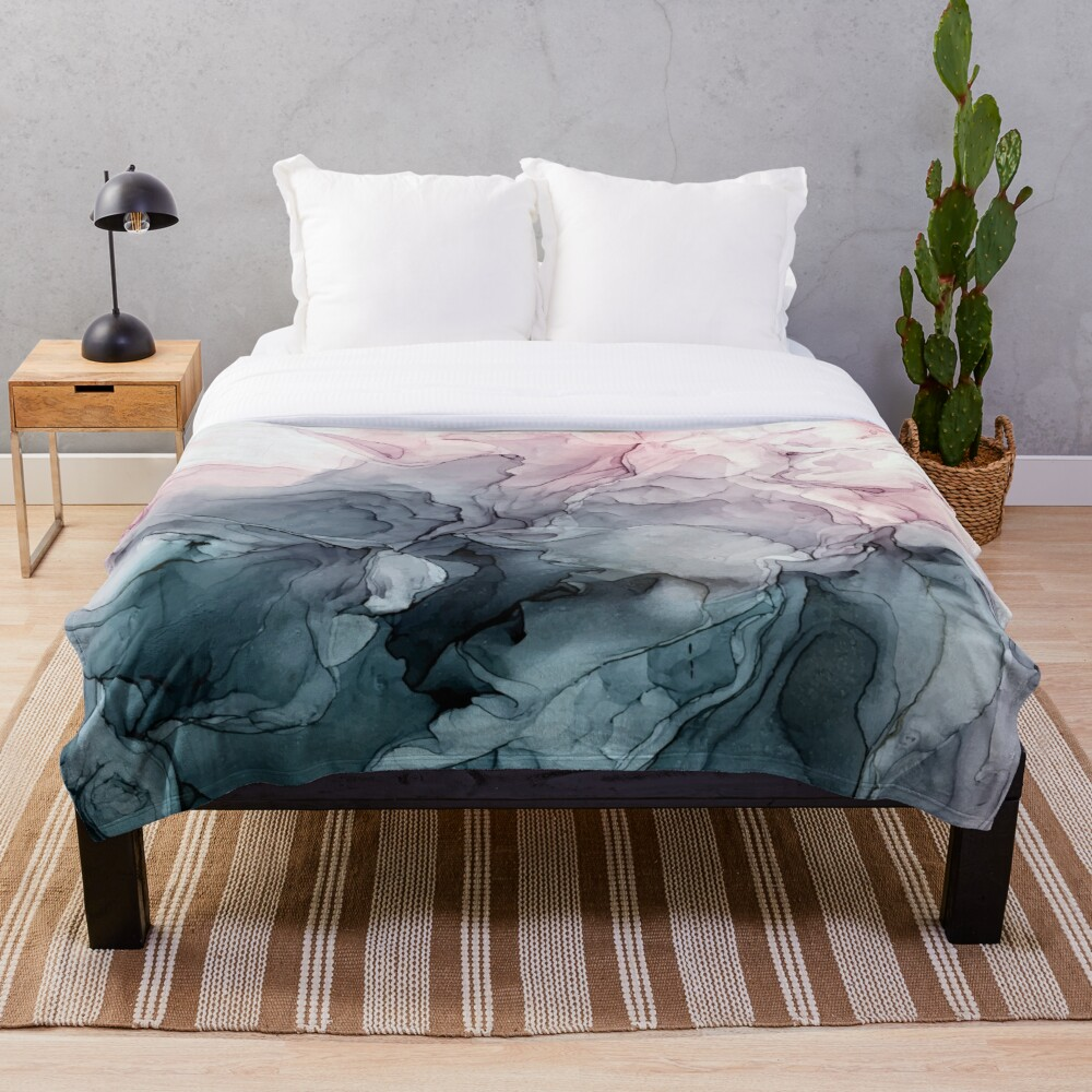 Blush and Payne's Grey Flowing Abstract Painting Throw Blanket