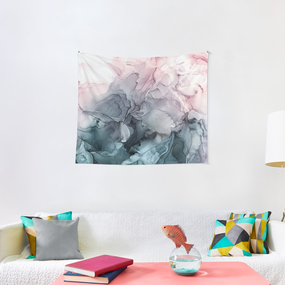 Blush and Payne's Grey Flowing Abstract Painting Tapestry