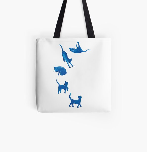Blue Cats All Over Print Tote Bag