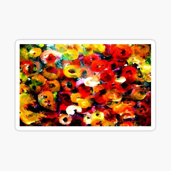 Aboriginal Art - Floral - Finger Painting  Sticker