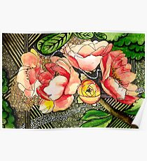 Peach Floral Poster