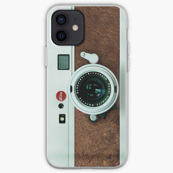 Cámara clásica de cuero marrón retro Vintage Old Funda blanda para iPhone