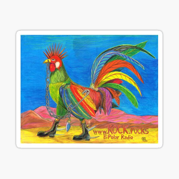 KOCK.rocks BiPolar Radio Punky Rooster Poster Sticker