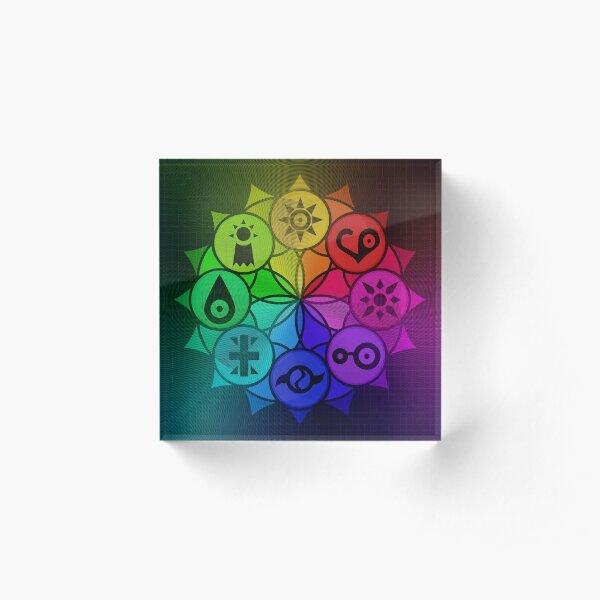 Digimon Crests Mandala  Acrylic Block
