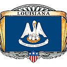 Louisiana Art Deco Design with Flag by Cleave