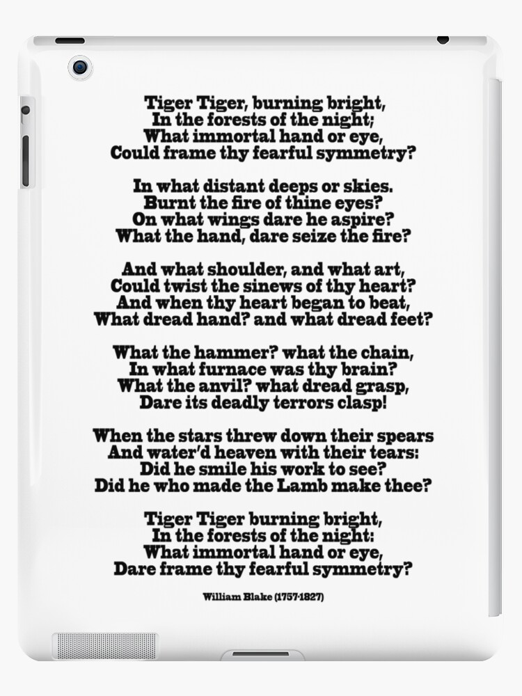 The Tiger Poem By William Blake 1757 1827 Ipad Caseskin By Tom Hill Designer
