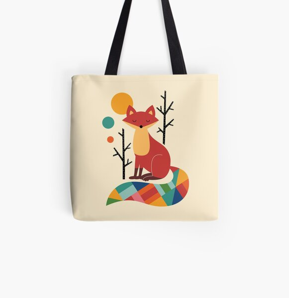 Rainbow Fox All Over Print Tote Bag