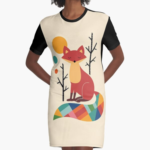 Rainbow Fox Graphic T-Shirt Dress