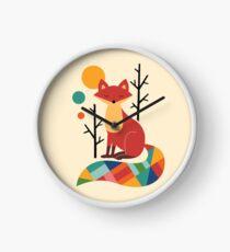 Rainbow Fox Clock