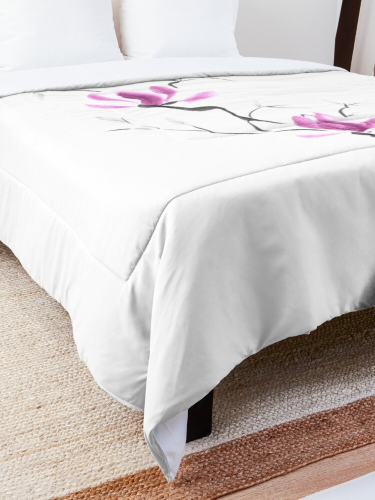 Alternate view of Branch of blooming purple magnolia flowers Japanese Zen Sumi-e painting on white art print Comforter
