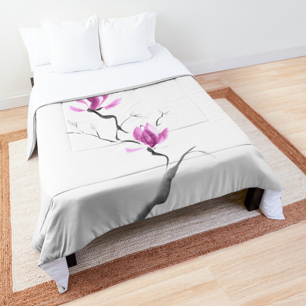 Branch of blooming purple magnolia flowers Japanese Zen Sumi-e painting on white art print Comforter