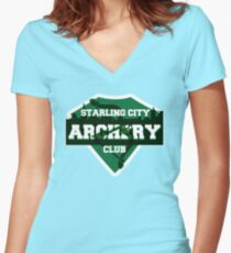Starling City Archery Club Women's Fitted V-Neck T-Shirt
