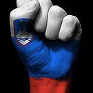 Flagge von Slowenien auf einer angehobenen geballten Faust von jeff bartels