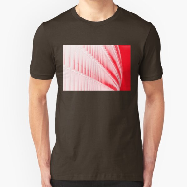 White and red design Slim Fit T-Shirt