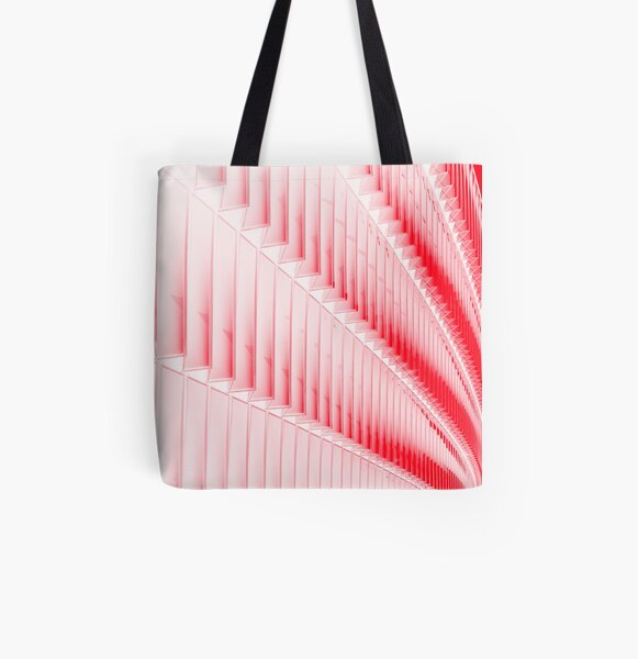 White and red design All Over Print Tote Bag