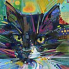 Black and white maine coon cat painting - 2011 by Gwenn Seemel
