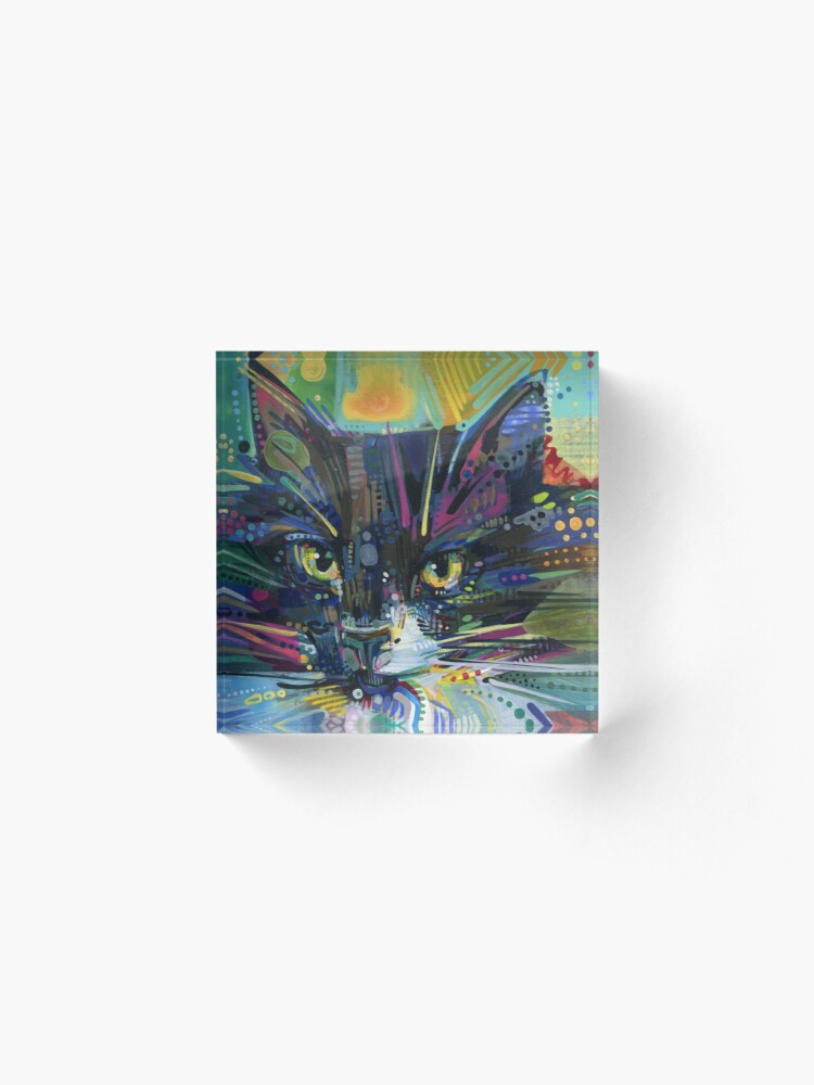 Alternate view of Black and white maine coon cat painting - 2011 Acrylic Block
