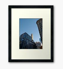 Manhattan, New York, city, Jersey City, view, buildings, water, shore, sky, ✈, plane Framed Print