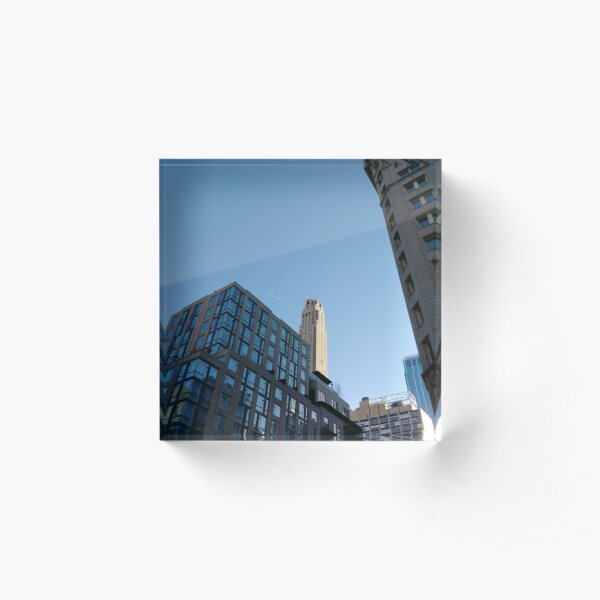 Manhattan, New York, city, Jersey City, view, buildings, water, shore, sky, ✈, plane Acrylic Block